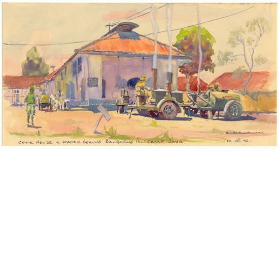 Cook House and Water Boiling, Bandoeng POW Camp, Java, 1942