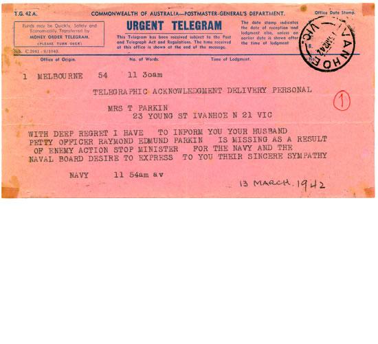 Telegram regard Ray as Missing In Action